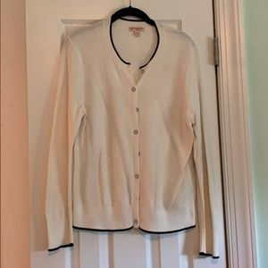 Brooks Brothers White Cardigan With Navy Trim